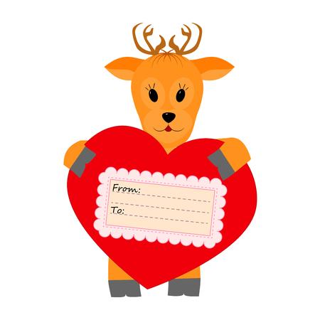 deer in heart: Deer holding a heart on a white background Illustration