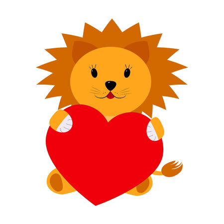 Lion holding a heart on a white background Vector