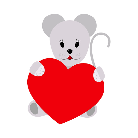 gnawer: Mouse holding a heart on a white background