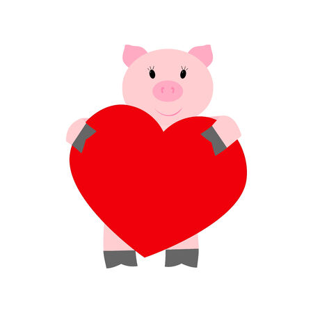 Pig holding a heart on a white background Vector