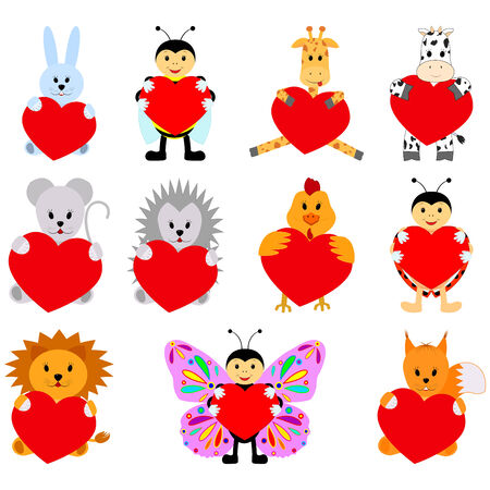 disign: Set of funny animals with hearts for your disign. Can be used in the design of greeting cards for Valentines Day Illustration