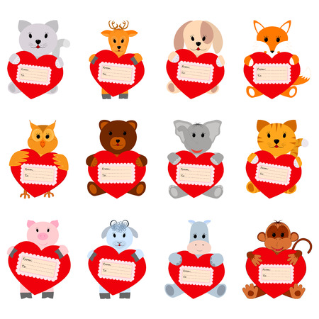 Set of funny animals with hearts for your disign. Can be used in the design of greeting cards for Valentines Day Vector