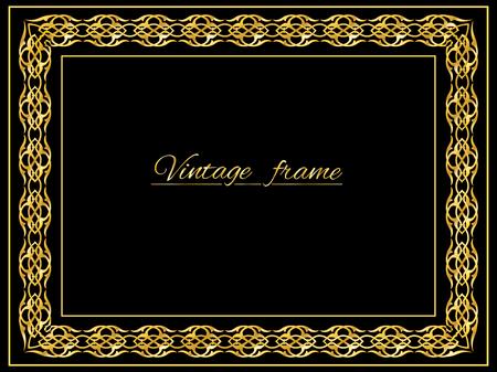 cadre antique: Vintage fond d'or, vecteur cadre antique sur fond noir