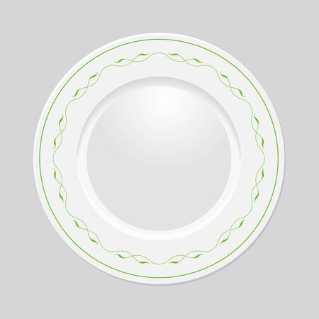 Decorative plate with patterned border, on gray background, top view. Vector EPS 10 Vector