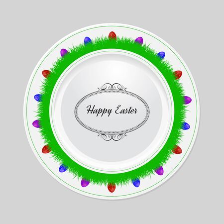 Decorative easter plate on gray background, top view Vector