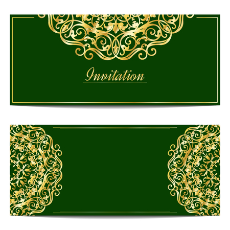 arabic frame: Vintage greeting cards in eastern style Illustration