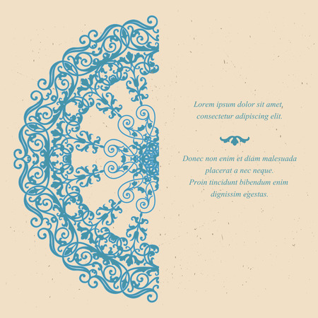circles pattern: Template of vintage greeting card in eastern style with old paper texture Illustration