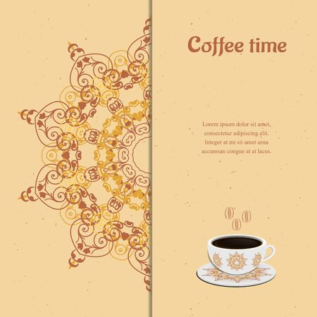 chocolate background: Card with cup of coffee
