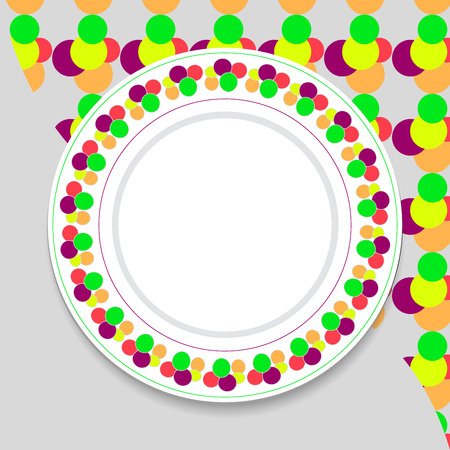 Decorative plate on gray background, top view Vector
