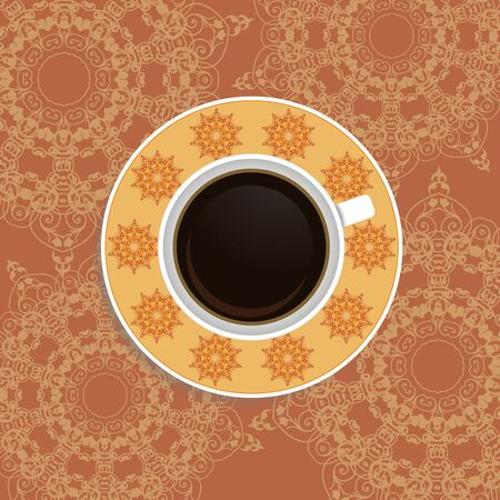 caffe: Cup of coffee with ornate eastern elements. Top view