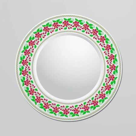 Decorative plate with floral ornament for interior design. Home decor. Vector illustration for your design. Vector