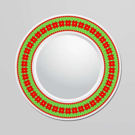 christmas motif: Decorative plate Christmas motif ornament for interior design. Home decor. Vector illustration for your design. Illustration