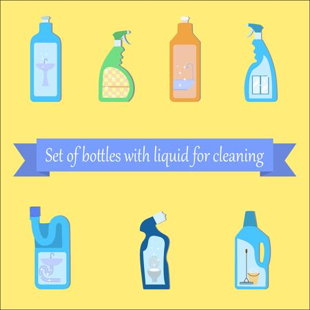 with liquids: Set of different bottles with liquids for cleaning the bathroom