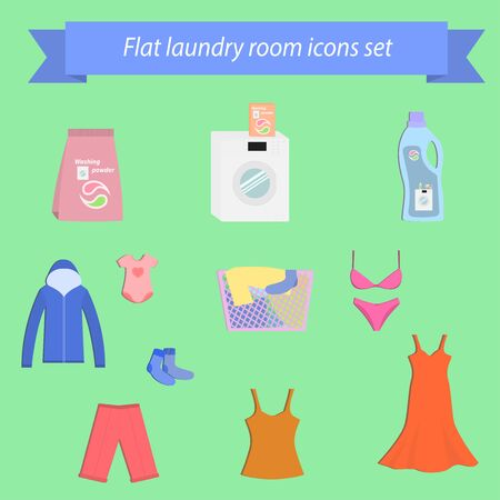 washing clothes: Icons set on the theme of washing clothes, laundry. Illustration