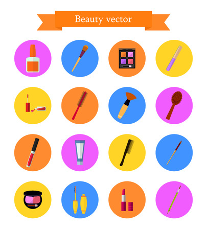 beauty icon: Icon set of cosmetic elements. Flat style. Illustration