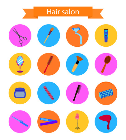 clippers comb: Icon set of hairdresser elements. Flat style. Illustration