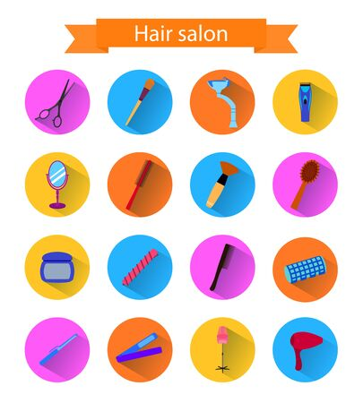 Icon set of hairdresser elements whith shadow. Flat style.