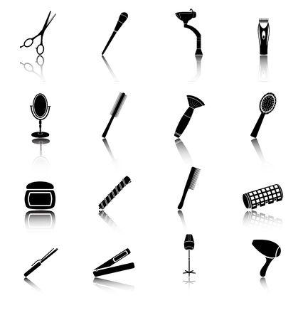 rulos: Icono conjunto de elementos de peluquer�a silueta negro. Estilo plano. Vectores
