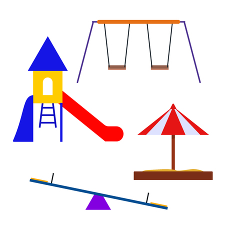 playground: Multicolored attractions playground. Vector illustration for your design