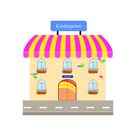 signboard design: Vector illustration for your design. The building with a signboard Kindergarten. Illustration