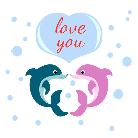 enamored: Two enamored dolphins, bubble heart with the inscription I love you Illustration