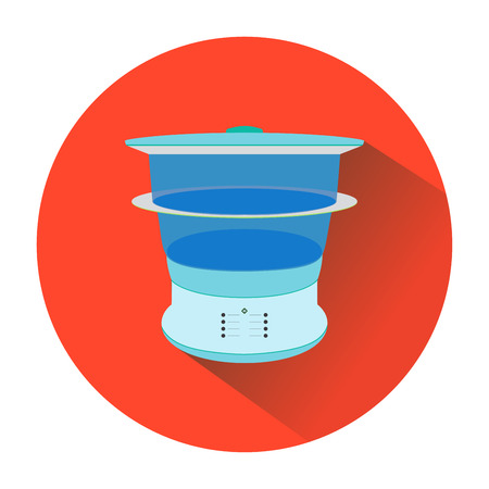 double boiler: icon blue steamers in the red circle. Illustration