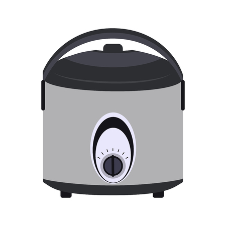 steam cooker: Grey multicooker on white background. Vector multicooker isolated