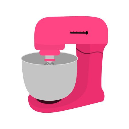 Pink kitchen mixer with bowl. Vector illustration Vektoros illusztráció
