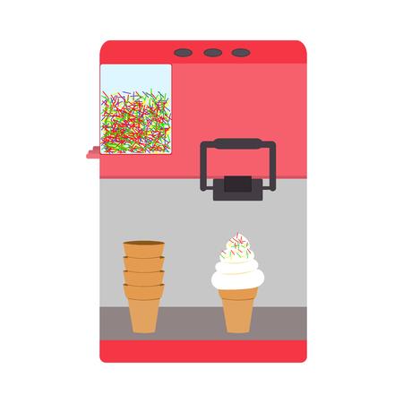 helado caricatura: Máquina para el helado de color rosa de obleas cono Vectores