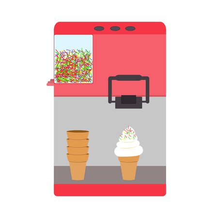 cartoon ice cream: Machine for ice-cream pink color wafer cone Illustration