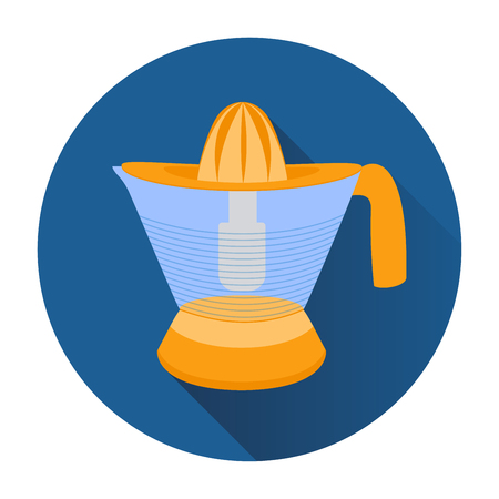 Icon of orange citrus juicer in the blue circle. Stock Vector - 47912261