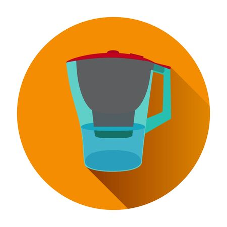 water filter: Jug water filter in the orange circle. Illustration