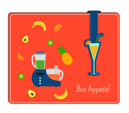 food processor: The card with the image of a food processor and vegetables. Label with a glass of fresh tropical.