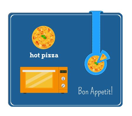 button mushroom: The card with the image of the microwave and pizza. Label with a plate of pizza.