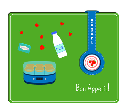 ferment: The card with the image of the yogurt maker and the ingredients for yogurt. Label with a plate yogurt.
