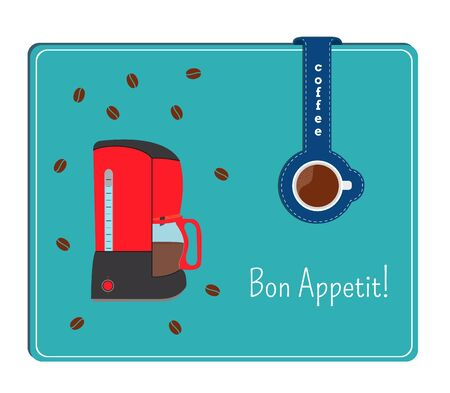tally: The card with the image of the coffee maker. Label with cup of coffee.