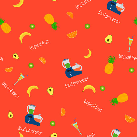 processor: Vector image of a food processor and fruits. Seamless pattern.