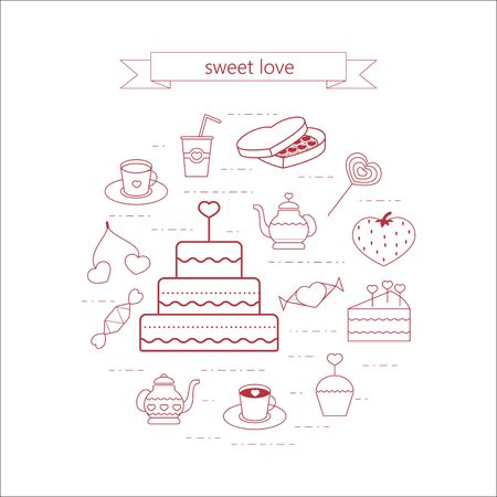 coffee berry: PrintSweets and cake arranged in a circle. Icons in a linear style on Valentines Day.