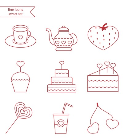Line style icons set. Sweets fnd cake love set