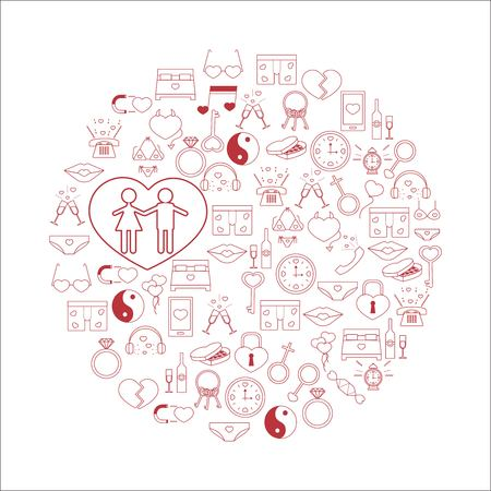 polygraphy: Vector illustration with different Valentines Day and love elements.Vector line icons. idea illustration for design t-shirts, banners, flyers and other types of polygraphy products