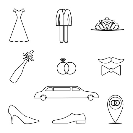 holidays for couples: Set of 9 icons in a linear style on the theme of the wedding. Vector elements for your design. Illustration