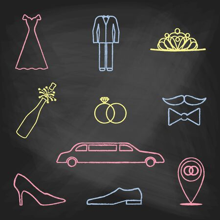 holidays for couples: Set of wedding icons painted with colorful chalk on a blackboard. Decorative icons for wedding day. Hands-drawn style
