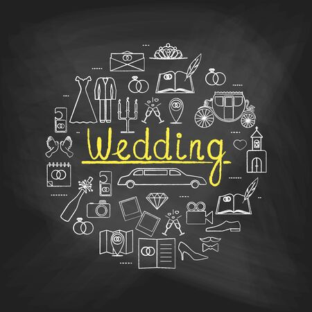 marriage bed: line icons painted with white and yellow chalk on a blackboard. Idea illustration for design t-shirts,  invitations. illustration with different Wedding Day elements.