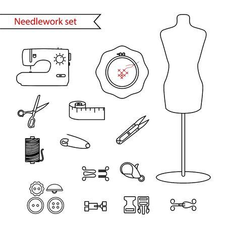 line sewing icon set. Outlined needlework icon set. Illustration