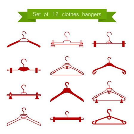 clothes hangers: Set of 12 red clothes hangers.