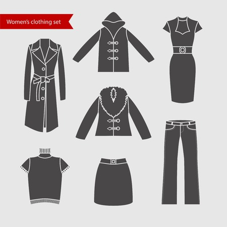 suit skirt: Set of icons of womens clothing for your design. Silhouette grey,  womens clothing icons Illustration