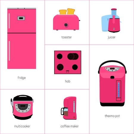 kitchen appliances: set of kitchen appliances in pink.