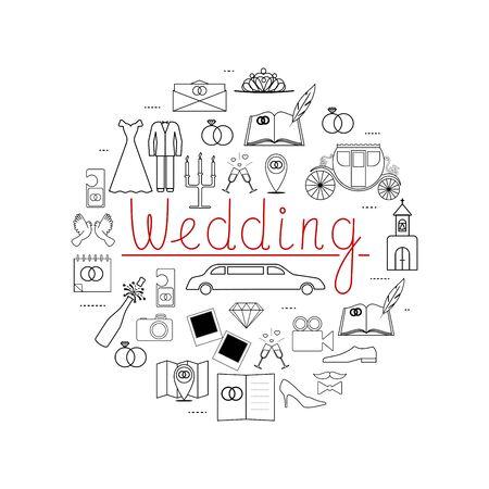 line wedding icons . Idea illustration for design t-shirts, invitations. illustration with different Wedding Day elements. Illustration