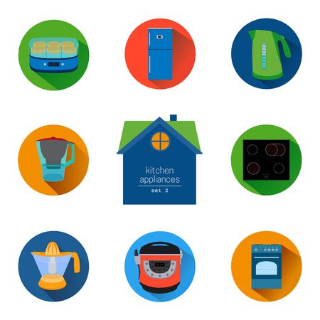 enzymes: home kitchen appliances and electronics icon set. Flat style icons collection. Colorful elements for design web and mobile applications. Illustration