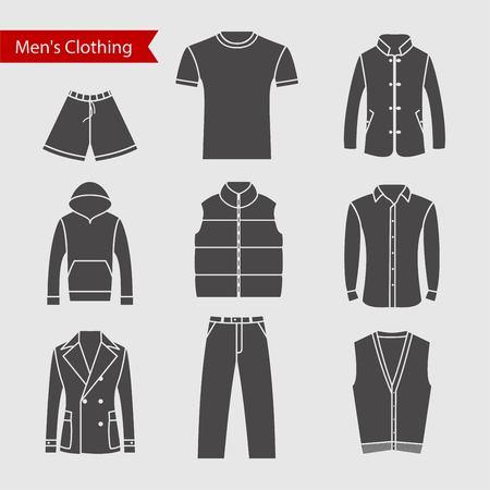 men's clothing: Set of icons of mens clothing for your design. Silhouette grey mens clothing icons.